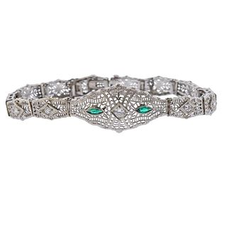 Art Deco Filigree 14k Gold Diamond Emerald Bracelet