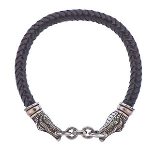 Kieselstein Cord Sterling Silver Alligator Leather Cord Necklace