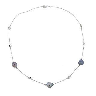 Tiffany & Co Peretti Platinum Diamond Pearl Station Necklace