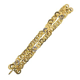 18k Hammered Gold Circle Link Diamond Bracelet