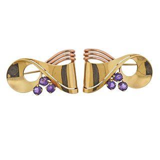 Tiffany & Co Retro 14k Two Tone Gold Amethyst Brooch Set