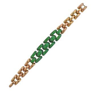 Retro 14k Rose Gold Jade Link Bracelet