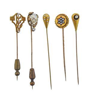 Antique Victorian Art Nouveau Gold Diamond Pearl Stick Pin Lot 5pc