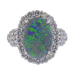 Platinum Black Opal Diamond Ring
