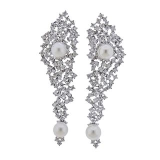 18k Gold 4.21ctw Diamond Pearl Cocktail Earrings
