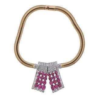 Burma Ruby Retro 14k Gold Diamond Platinum Pendant Necklace