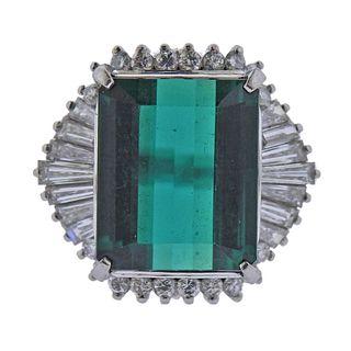 10ct Green Tourmaline Diamond Platinum Cocktail Ring