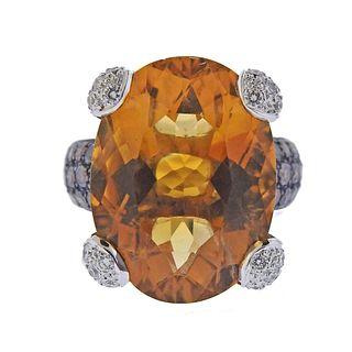 18k Gold Fancy Diamond Citrine Cocktail Ring