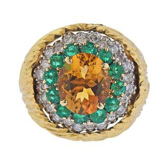 18k Gold Diamond Emerald Citrine Cocktail Ring