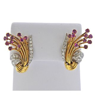 Kutchinsky 18k Gold Platinum Ruby Diamond Earrings
