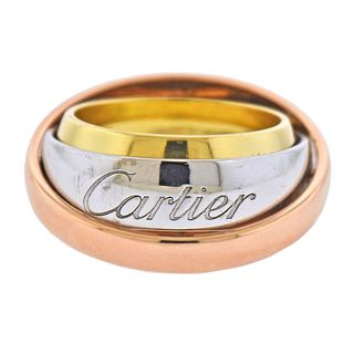 Cartier Trinity 18k Tri Color Gold Pendant Band Ring Size 50