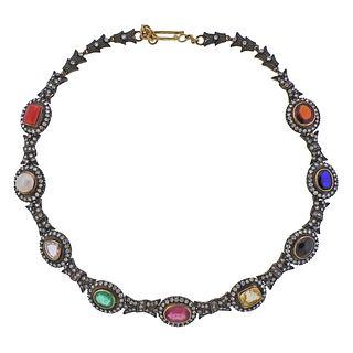 14k Gold Silver Diamond Multi Color Gemstone Necklace