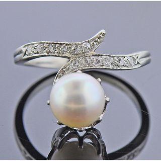 Platinum Diamond Pearl Ring