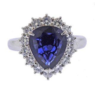 Platinum Diamond No Heat Sapphire Ring