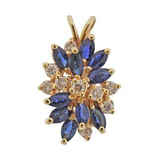 14k Gold Diamond Sapphire Cluster Pendant