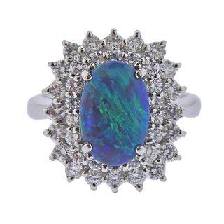 Platinum Diamond 2.09ct Opal Cocktail Ring