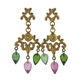 Robin Rotenier 18k Gold Tourmaline Chandelier Earrings