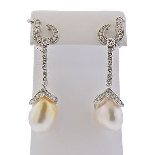 Mid Century 18k Gold Baroque Pearl Diamond Drop Earrings