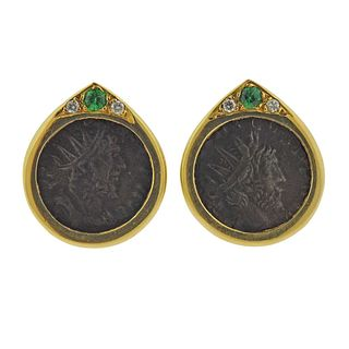 18k Gold Coin Diamond Gemstone Earrings