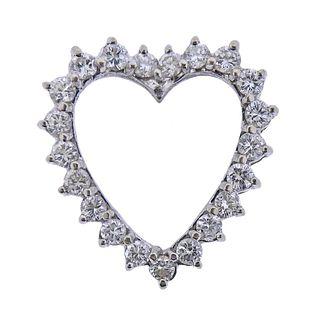 14k Gold Diamond Heart Slide Pendant