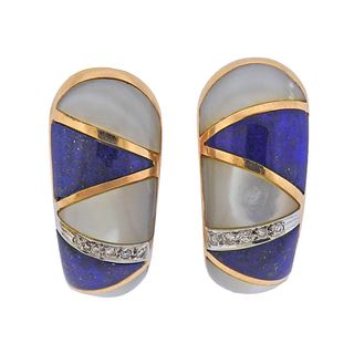 18k Gold Diamond Mother of Pearl Lapis Inlay Earrings