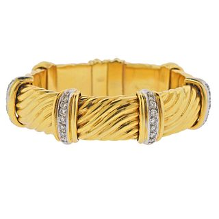 1980s 18k Gold Diamond Bracelet