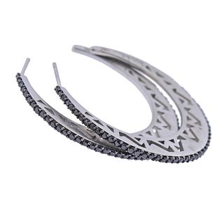 Nicole Miller 14k Gold Black Sapphire Hoop Earrings