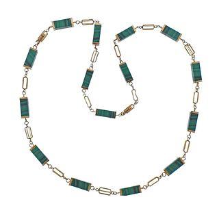 1970s 14k Gold Malachite Link Long Necklace