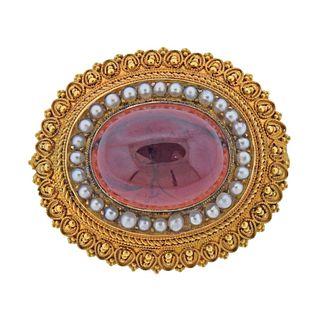 Etruscan Antique 14k Gold Garnet Pearl Brooch Pin