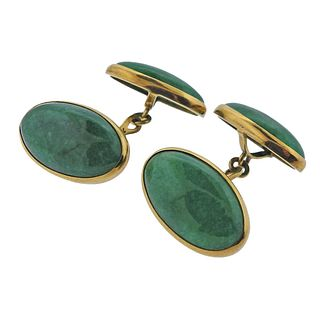 18k Gold Green Gemstone Cufflinks