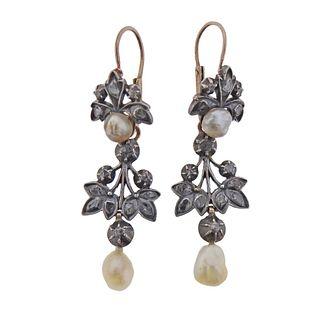 Antique 14k Gold Silver Rose Cut Diamond Pearl Earrings