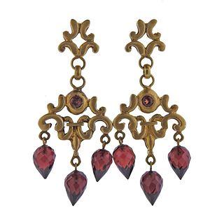 Robin Rotenier 18k Gold Garnet Chandelier Earrings
