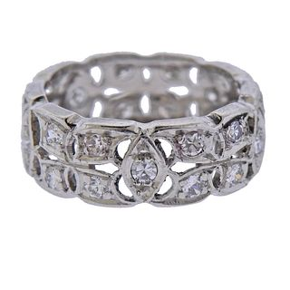 Mid Century Platinum Diamond Band Ring