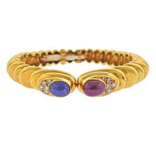 18k Gold Ruby Sapphire Cabochon Diamond Cuff Bracelet