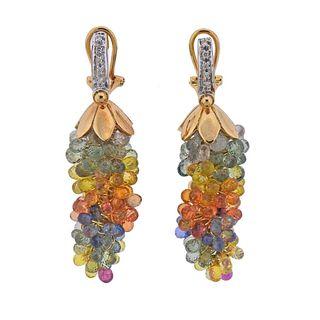 14k Gold Diamond Multicolor Sapphire Chandelier Earrings