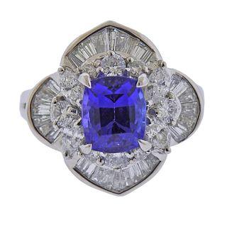Platinum Diamond Tanzanite Ring