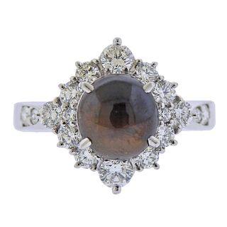 Platinum Diamond Cats Eye Ring