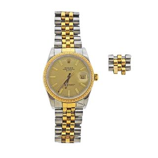 Rolex Oyster Date Two Tone Champagne Dial Watch
