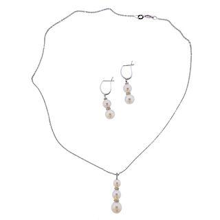 14k Gold Diamond Pearl Drop Earrings Pendant Necklace Set