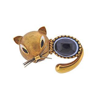 18k Gold Banded Agate Enamel Cat Brooch Pin