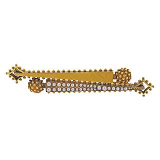 Antique Victorian 18k Gold Seed Pearl Brooch Pin
