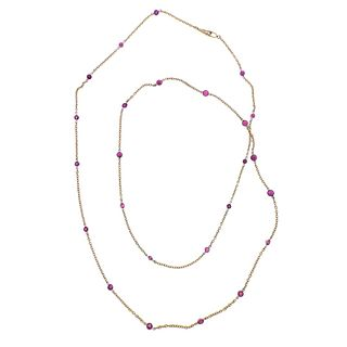 14k Gold Ruby by the Yard Long Necklace