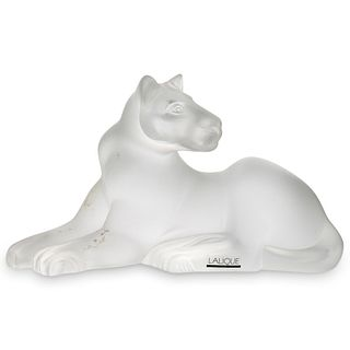 "Lalique ""Lioness"" Crystal Statue"