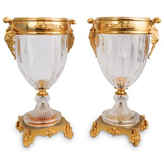 Pair Of Crystal & Dore Bronze Vases