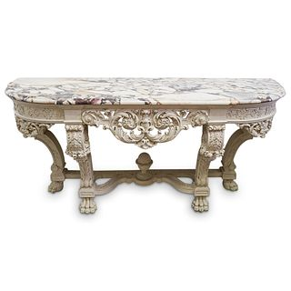 Carved Wood & Granite Console Table