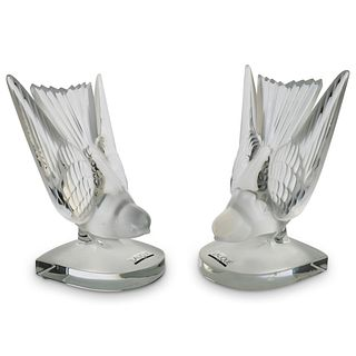 "Lalique ""Hirondelle"" Crystal Bookends"