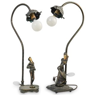 (2 Pc) Pair of Vintage Figural Table Lamps
