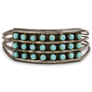 "Navajo Silver ""Snake Eye"" Turquoise Triple Row Cuff Bracelet"