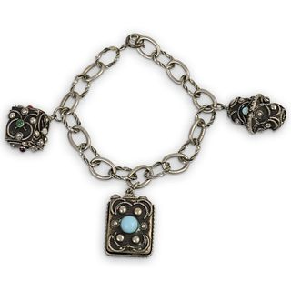 Antique Jeweled Sterling Silver Charm Bracelet