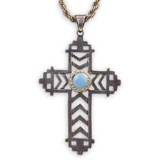 Sterling Silver and Turquoise Pendant Cross Necklace
